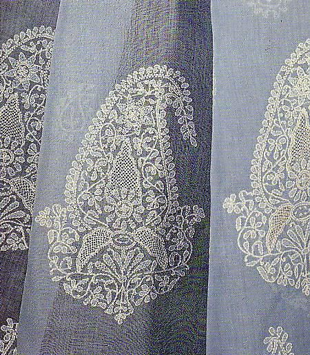 Chikan Embroidery of Lucknow, Uttar Pradesh ~ link to article about history of the technique and stitches used.