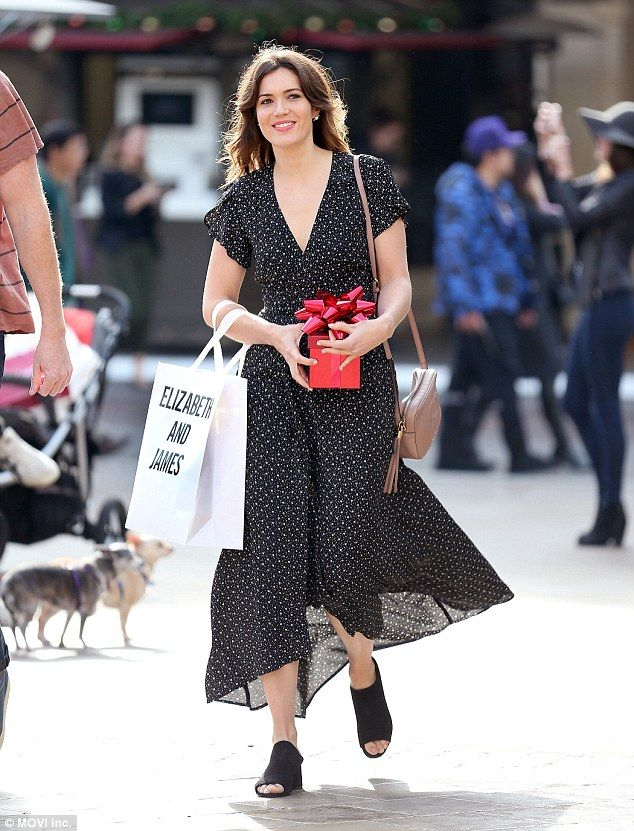 Christmas shopper: Mandy More was spotted on Tuesday at The Grove in Los Angeles with a holiday gift for a special someone