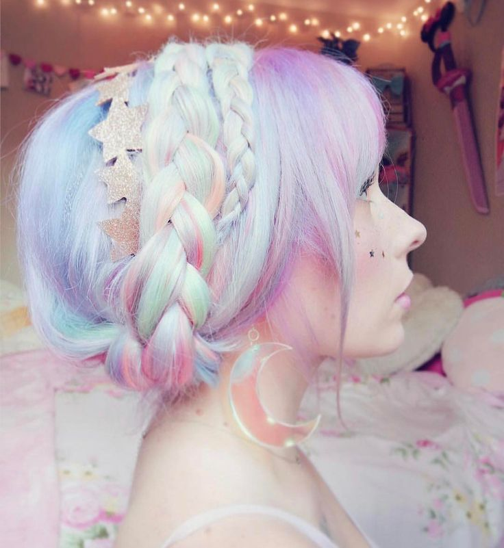 Braided pastel pink, lilac and blue hair with stars