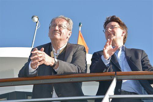 Christian Ude und Tim Weidner auf der MS Starnberg