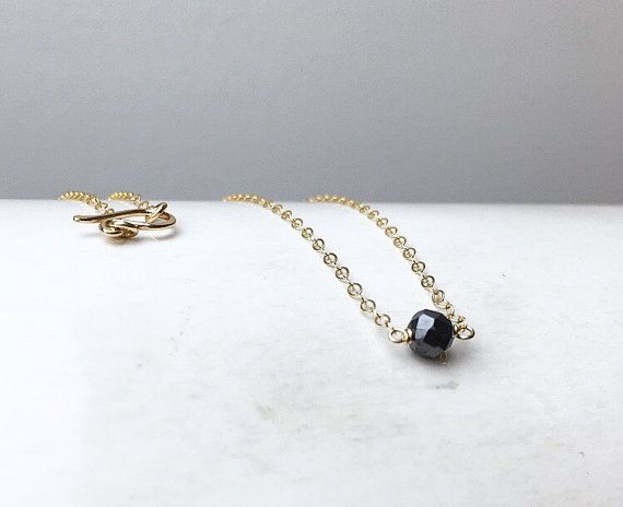Genuine Black Diamond Necklace / April Birthstone / by niccoletti