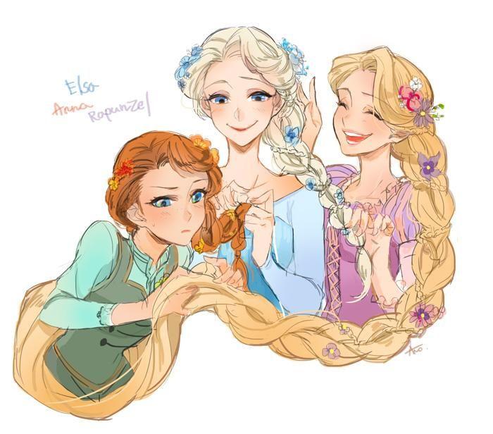 Elsa, Anna, and Rapunzel doing each other's hair.