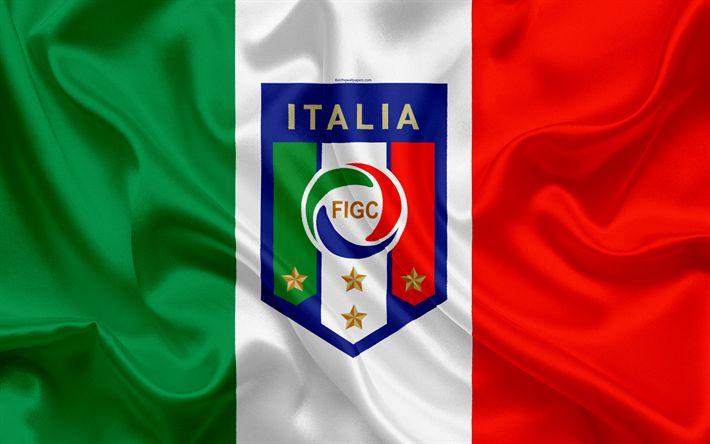 Download wallpapers Italy national football team, emblem, logo, football federation, flag, Europe, Italian flag, football, World Cup