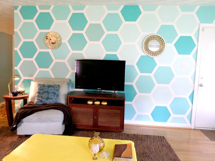 DIY Ombre Painted Hexagon Accent Wall Part 33