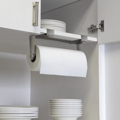 Umbra Mountie Paper Towel Holder - clips to shelf as shown, or to top of a cabinet door. 22.00 usd at AllModern