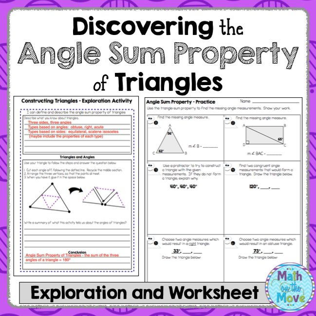 FREEBIE!  This activity helps students discover the angle sum property of triangles by cutting off the angles of a triangle and pasting the vertices together, which meet to form a straight line (180°).
