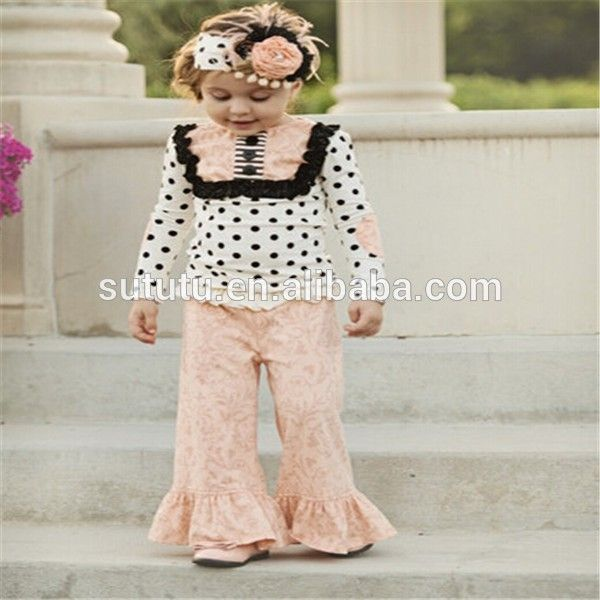 Kids Fashion Casual Wears Long Sleeve Polka Dots Top With Bib And Casual Ruffle Pant Baby Girs Clothing Set Boutique