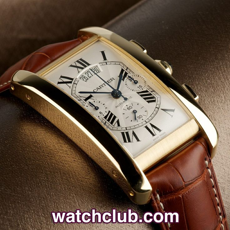 """Cartier Tank Américaine XL Chronograph - """"Cartier Warranty"""" REF: W2609256   Year Sep 2007 - Under Cartier warranty until February 2015, this large size 18ct yellow gold Cartier Tank Américaine XL automatic chronograph is in superb condition... The signature guilloché dial with black enamel roman numerals is clean, crisp and classically Cartier."""