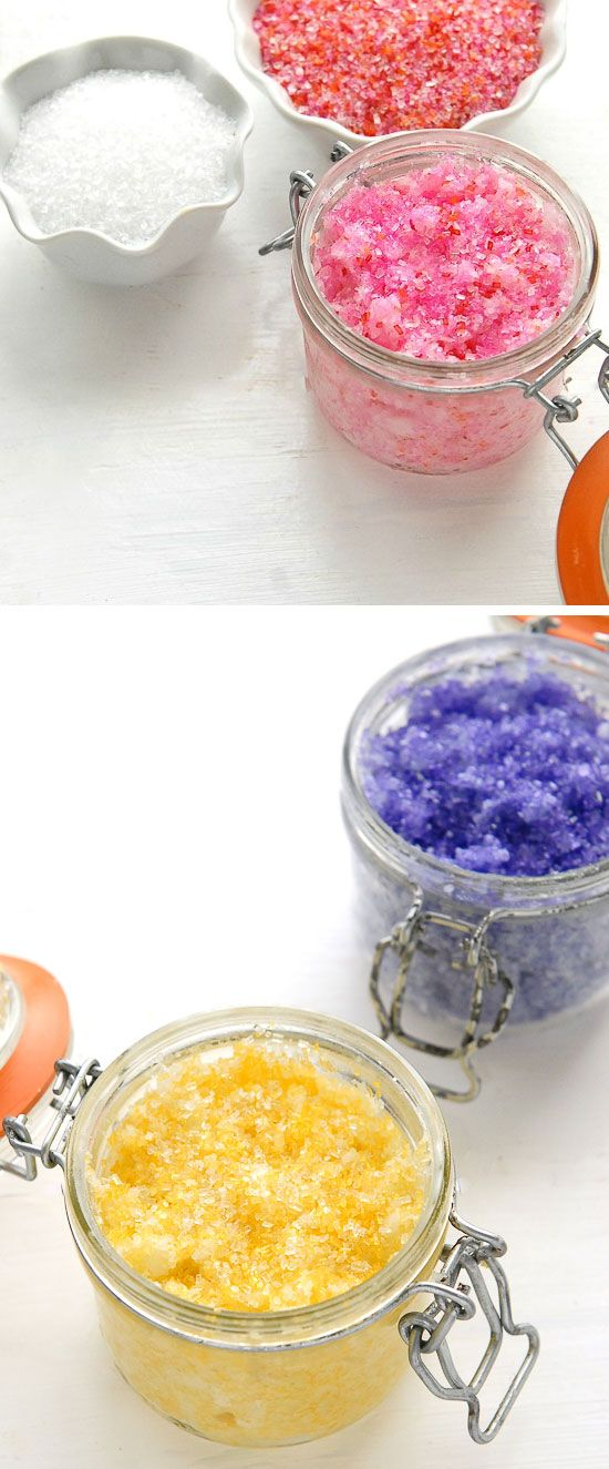 Sparkling Flower-Scented Coconut Oil Sugar Scrubs | Click Pic for 18 DIY Mothers Day Gift Ideas for Kids to Make | Last Minute Mothers Day Gifts from Daughter