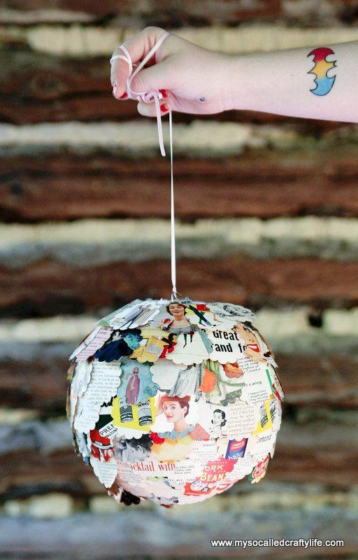 DIY Upcycled Vintage Magazine Paper Lantern | My So Called Crafty Life