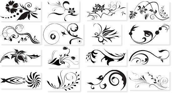 черно белые узоры, завитушки, цветочные мотивы