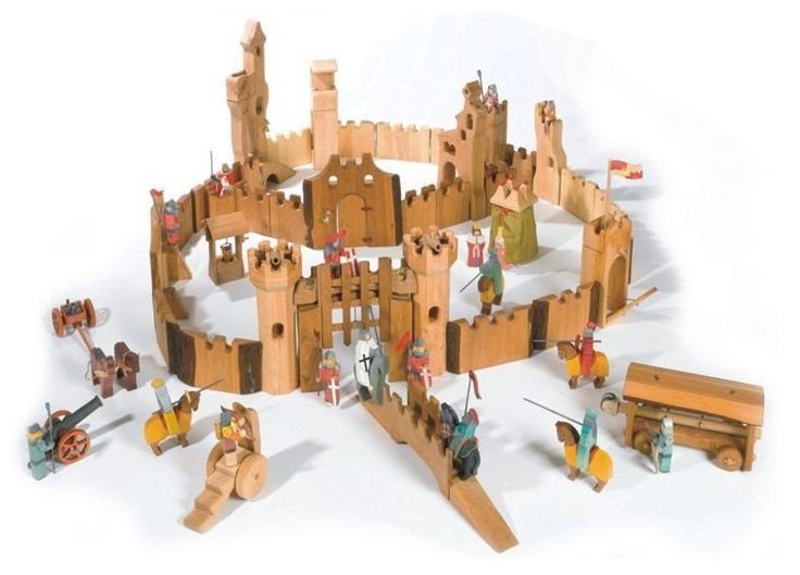 Kinderkram Mini Castle Set Wooden Knights And Horses And