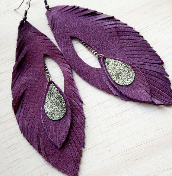 Leather Feather Earrings. Rich Plum. Bohemian Jewelry.