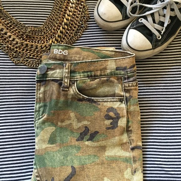 Camo jeans by BDG Camo Jeans. These have a distressed/faded look to them! A cool spin on the traditional camo print! BDG Jeans Skinny