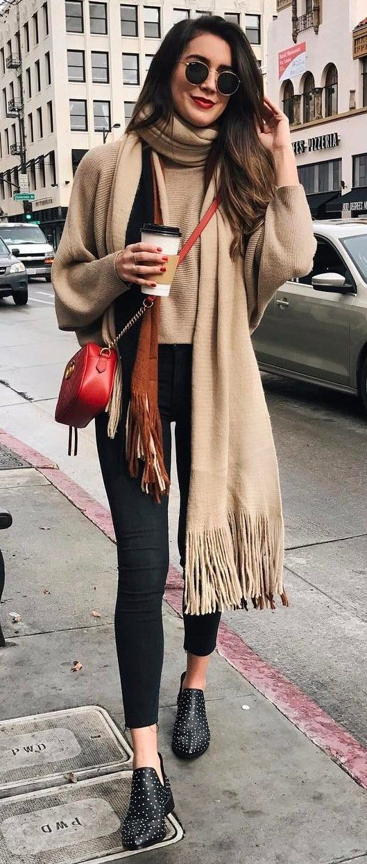 amazing fall outfit sweater + nude scarf + red bag + boots http://feedproxy.google.com/fashiongobags