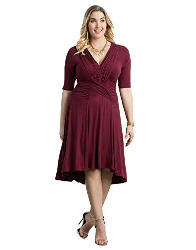 Product review for Kiyonna Women's Plus Size Refined Ruched Dress.  - Feel flirty and fine in our flowy Refined Ruched Dress with a trendy hi-lo hem. With its surplice V-neckline, ¾ sleeves and ruched waist, you'll be draped in figure-flattering fashion for any day or night occasion. Available exclusively in women's plus sizes. 5% Polyester, 5% Spandex. ...
