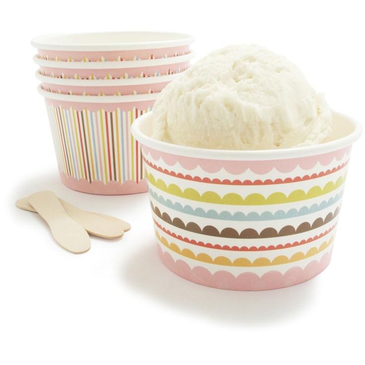 pretty little paper ice cream cups--Pregnant ladies loooove ice cream