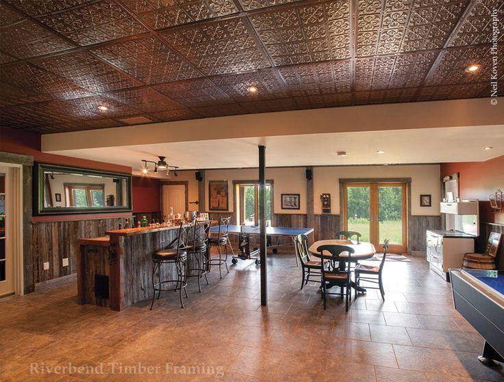 farmhouse inspired timber frame basement custom design riverbend timber framing