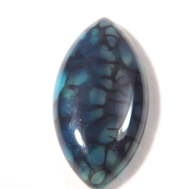 38.65Ct 39x20x6mm Blue Dragon Vein Agate Cabochon Wire Wrapping/Jewelry Making #Unbranded