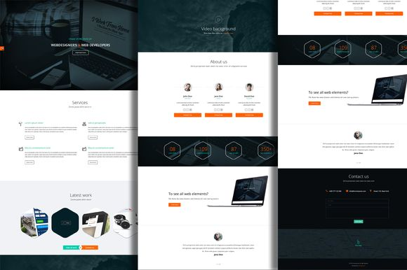 One page minimalist PSD theme by Marcoo on Creative Market