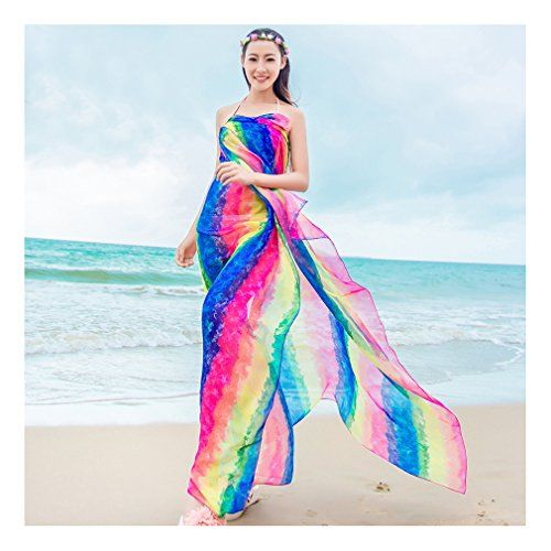 """GERINLY Sarong Wrap - Striped Rainbow Print Chiffon Beach Cover Ups (Blue). OverSize: 59""""Wx70.8""""L (150cm*180cm). Material:Georgette - fine artificial silk chiffon, silk smooth,light and thin fabric. Sheer Material. Features: Plus Size, Lightweight, Soft, See-through Sexy Look Design, Perfect Swimsuit Cover Ups. Care Instructions: Just wash in cold water by hand with a gentle soap. Stripes are very """"in style"""" this year so do not be without this sarong. The rainbow of colors will match up with…"""