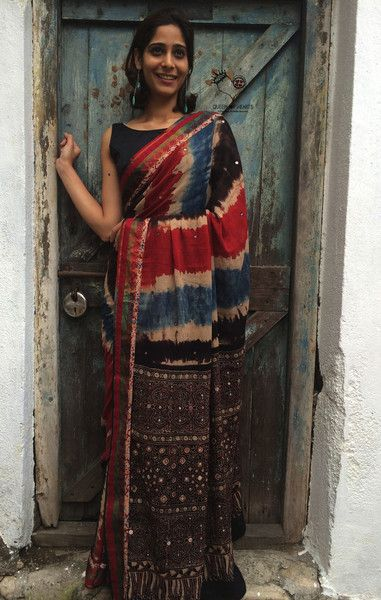Custom Mosaic Design 2 Mul Cotton Saree from Kutchh