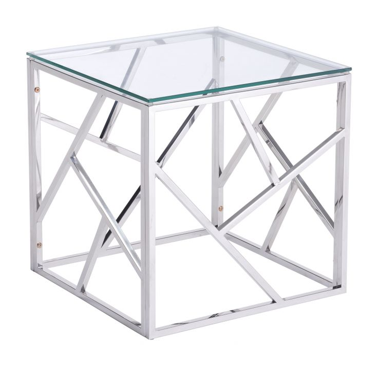 PRODUCT DESCRIPTION: Slim and sleek perfection as a stunning Cage side table is created with slim angled strip designs and finished with clear tempered glass top. Cage occasional collection includes s