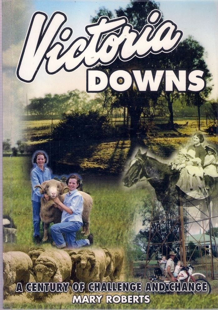 VICTORIA DOWNS. A century of one family living at Victoria Downs, Morven, Queensland and establishing a Merino stud there. It features the story of the valuable ram that was doctored with rum and egg-nog on the long train trip home.