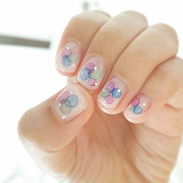 #ネイル #たらしこみネイル #あじさいネイル #nails #nailart #nail #幸せ