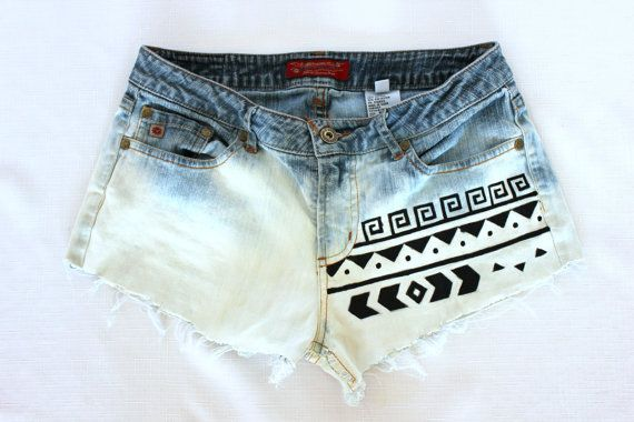 Bleached Tribal Aztec Shorts by SHOPsunkissed on Etsy, $40.00 ... I'll just learn to do it myself ;)