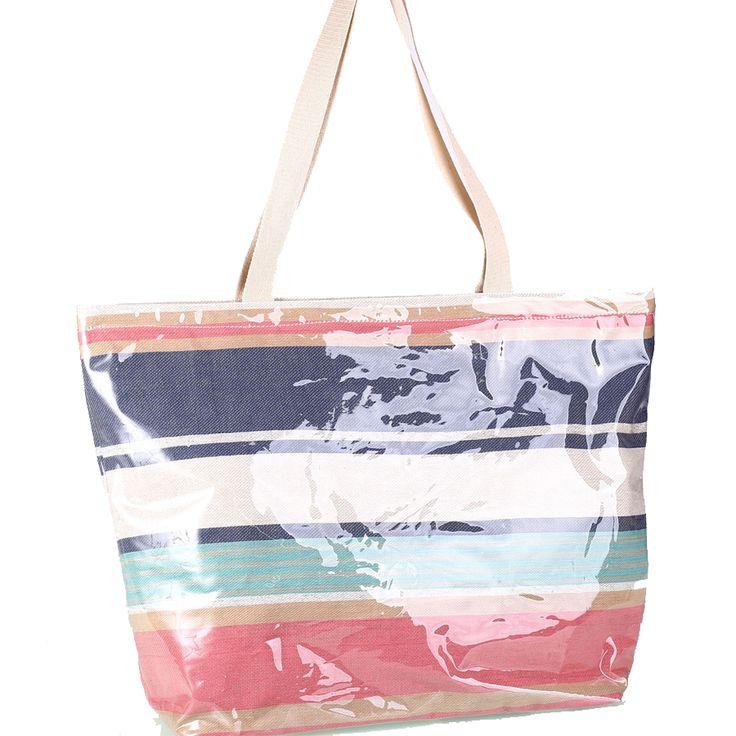 Plážová taška z bavlny a PVC