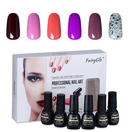 Lot de 6vernis à ongles FairyGlo gel UV LED Manucure Vernis à ongles Art Starter Kit beauté de démarrage Haute brillance Couche de base 7…