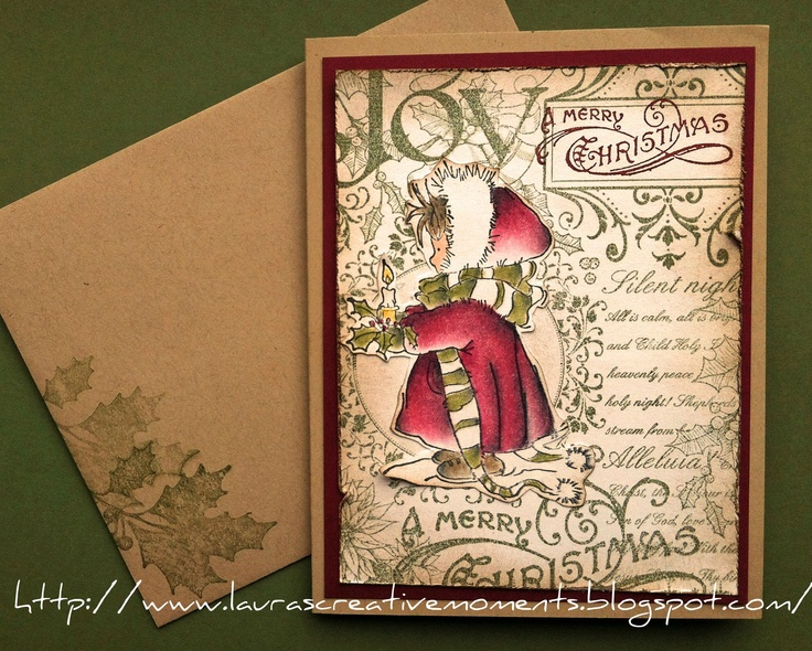 Merry Christmas (Lili of the Valley stamp Christmas Candle and Stampin' Up background stamp)
