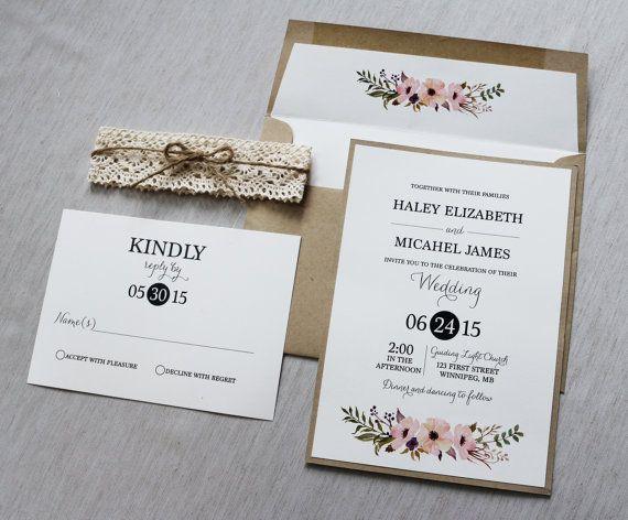 Lace Wedding Invitation, Rustic Wedding Invitation, Vintage Wedding Invitation, Boho, Shabby Chic, Bohemian, DIY kit or Printable