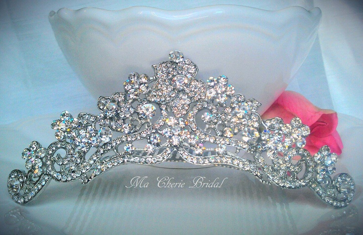 Rhinestone Crown Quinceanera Prom Pageant Crown Bridal Comb Rhinestone Comb Wedding Tiara Comb. $95.99, via Etsy.