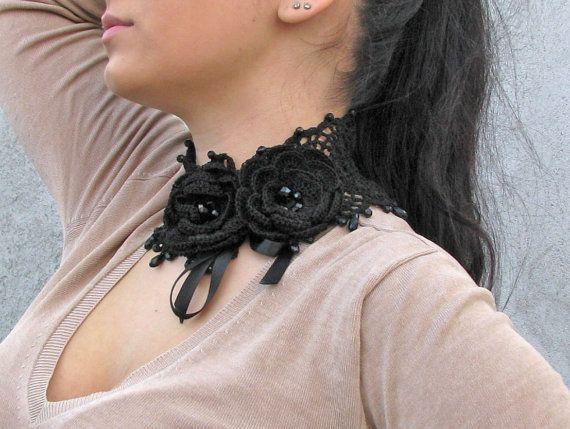 Crocheted BLACK glass beads choker/necklace by kovale on Etsy