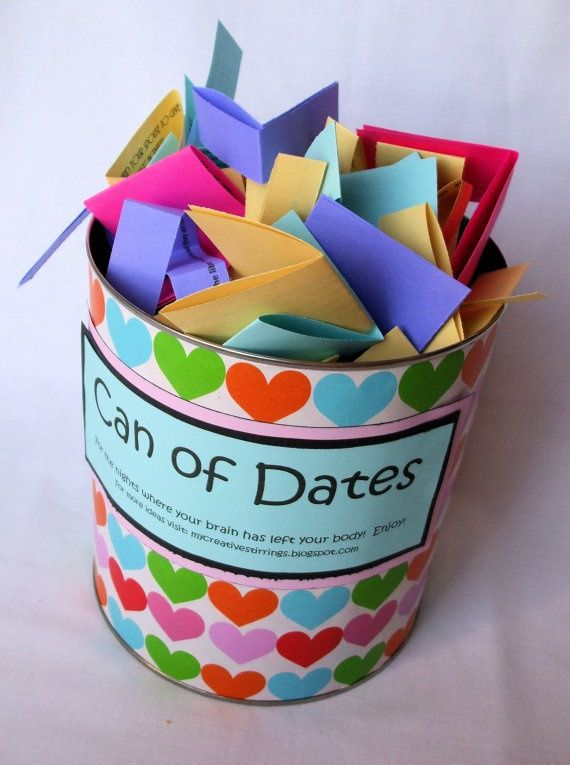 """""""Can of Dates"""" Idea... for use when you're out of ideas for date-night after you're married. Have guests at your wedding or shower write an idea down, fold it up and place it in the can."""
