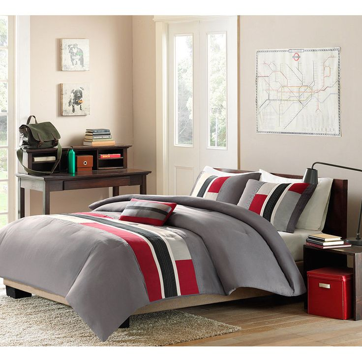 3pc boys comforter set teen reversible bedding machine wash red grey twin xl boys comforter setsteen