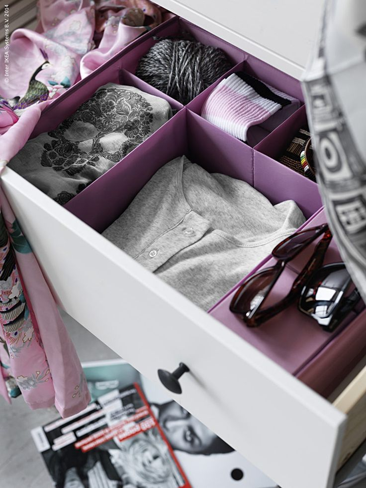 Keep small items you store in your dresser drawers from floating around and getting lost by placing them in drawer organizers, like SKUBB