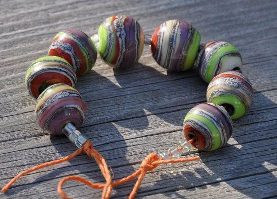 fall harvest beads set of 8 round glass lampwork beads by moltenwrx