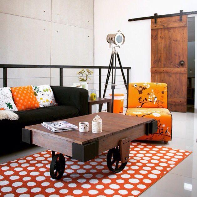 Warm orange industrial livingroom