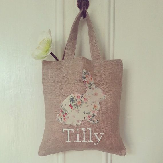Handmade and Personalised Children's Easter Egg Hunt/Gift Bag by HeritageRoseAtelier, £7.50 #Etsy
