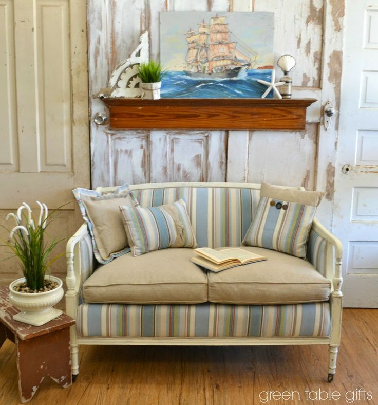 47 best annie sloans fabric images on pinterest chalk painting this stunning settee is upholstered in monaco from the annie sloan fabric collection and the frame is painted with chalk paint in old white gumiabroncs Image collections