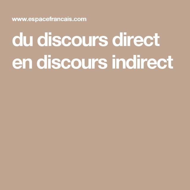 du discours direct en discours indirect