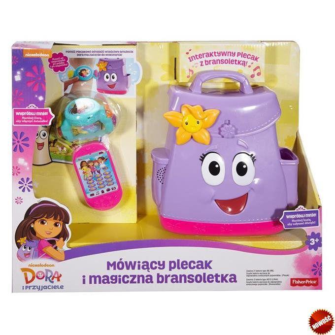 Fisher Price Dora i przyjaciele - Mówiący plecak i magiczna bransoletka Zabawka mówi, śpiewa, świeci i prosi dzieci o pomoc w odnalezieniu odpowiednich amulecików. Ponad 40 wypowiedzi po polsku i po angielsku angażuje do aktywnej zabawy, a także pomaga w nauce języka.