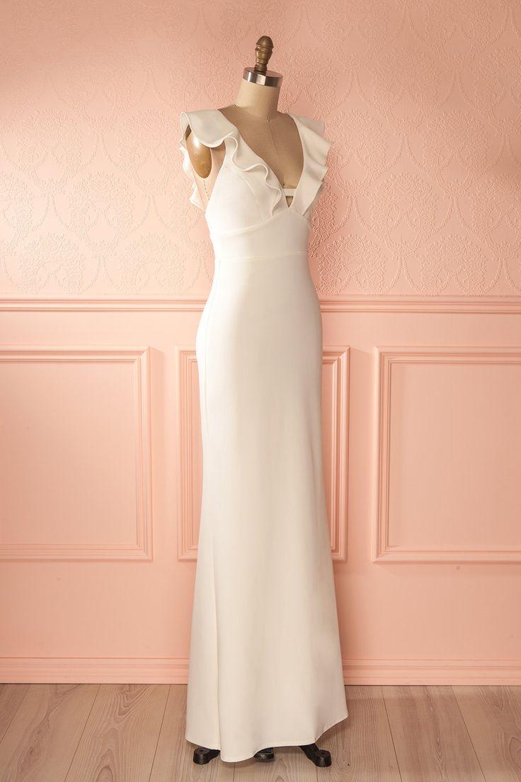 Xana Tendresse - White frill neckline maxi dress