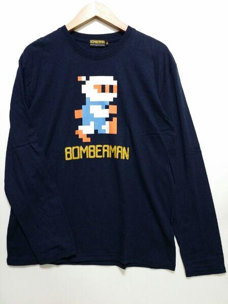 【ボンバーマン】長袖Tシャツ/8ビット/LL/紺/古着/即決/送料無料_画像1