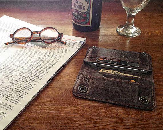 RETROMODERN aged leather iPhone wallet - - ESPRESSO. $149.00, via Etsy.