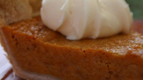 For this lovely pie, sweet potatoes are boiled, peeled and mashed together with butter, sugar, milk and eggs, then seasoned with nutmeg, cinnamon and vanilla.