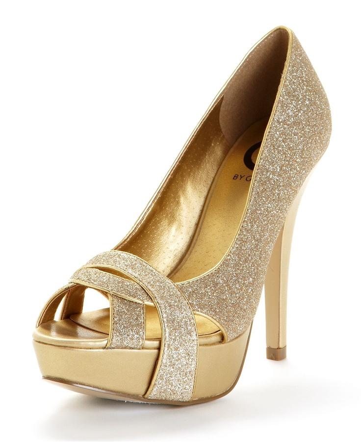 638cf7e383 GUESS Women's Shoes, Gold Carlina Peep Toe Platform Pumps - Macy's